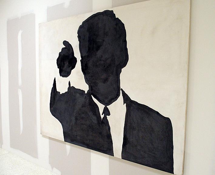 quadro moderno di sergio lombardo che raffigura la sagoma di Kennedy