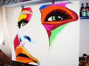 Quadro moderno colorato Colorface dipinto a mano