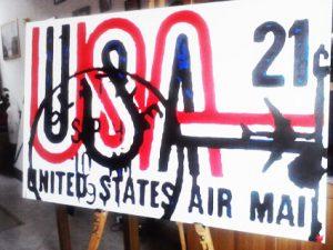 Quadro moderno pop art USA AIRMAIL dipinto a mano